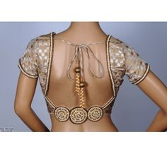 The Blouse Factory -- Gold Silver Saree Blouse -- Embroidery:Handwork of pearls and silver stones