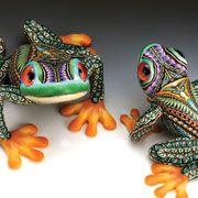 Jon Stuart Anderson polymer cane  tree frogs