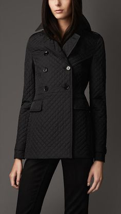 Burberry London Slim Fit Quilted Pea Coat