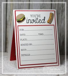 A BBQ Invite Card by Jen Shults (Inside) #Cardmaking, #Invitations, #LittleBitsDies, #Entertaining, #TE, #ShareJoy