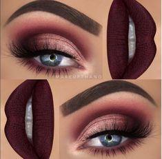 Makeup Burgundy makeup Vampy lip Smokey eye makeup #makeupartist #makeup #smokeyeye