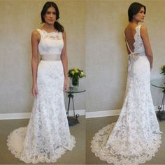 Cheap backless bridal gown, Buy Quality bridal gown directly from China wedding dress Suppliers: Vestido de noiva 2016 New Arrival Lace Removable Belt Backless Bridal Gown White / Ivory Wedding Dresses Backless Lace Wedding Dress, Lace Mermaid Wedding Dress, Elegant Wedding Dress, Perfect Wedding Dress, Lace Dress, Prom Dress, Glamorous Wedding, 2016 Wedding Dresses, White Wedding Dresses