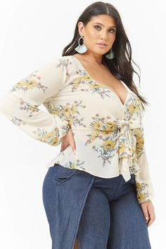 Forever 21 Plus Size Floral Chiffon Tie-Front Top Curvy Fashion, Fashion Models, Fashion Outfits, Womens Fashion, Ladies Fashion, Curvy Women Outfits, Clothes For Women, Curvy Clothes, Plus Size Dresses