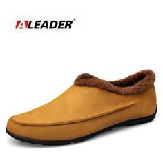Check lastest price Aleader Winter Mens Warm Loafers Leather High Quality Men Shoes With Fur Slip On Casual Outdoor Indoor Fashion Shoes Moccasins just only $32.99 with free shipping worldwide  #menshoes Plese click on picture to see our special price for you