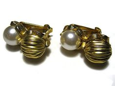 Vintage Faux Pearl Earrings Textured Gold Tone by SharkysWaters