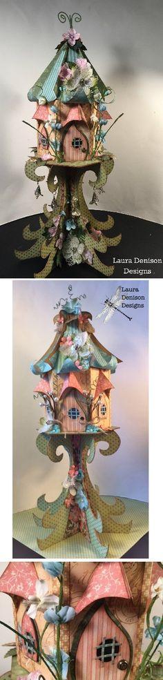 Volière sur pied en papier - autres visuels ici : http://www.lauradenisondesigns.com/national-scrapbook-day-2/