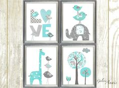 This is a set of prints made on matte photo paper that will need to be framed. Blue aqua and gray Elephant Nursery giraffe nursery wall art kids room baby nursery children art tree nursery Set of four prints GalerieAnais Check out my shop: http://www.etsy.com/shop/GalerieAnais Facebook
