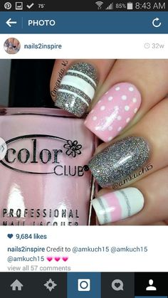 If you want a unique and stylish design, then consider polishing your nails with dots and stripes nail art design. Here are the best ideas for a joyful spring designs on your nails. Get Nails, Fancy Nails, Pink Nails, How To Do Nails, Hair And Nails, Striped Nail Designs, Striped Nails, Cute Nail Designs, Fabulous Nails