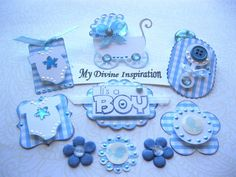 It's a Boy Paper Embellishments by mydivineinspiration on Etsy