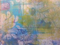 Gelatin plate monotype print on recycled paper with stamped flowers by Sadelle Wiltshire