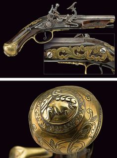 A snaphaunce flintlock pistol by Ferretti:    provenance:	 	Tuscany dating:	 	mid-18th Century.