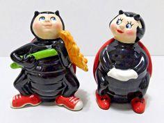 Anthropomorphic Ladybug Clay Art Salt Pepper Shakers Boy Girl Flower Ceramic Salt Pepper Shakers, Salt And Pepper, Lady Bug, Clay Art, Ceramics, Christmas Ornaments, Flower, Holiday Decor, Salt N Pepper
