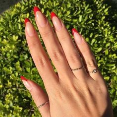 Acrylic Nail Art 360710251406873873 – French red tips – nails by Lucy Kavrazoni ( on nikkimakeup. twist… Source by magnifiscen Acrylic Nail Art 360710251406873873 – French red tips – nails by Lucy Kavrazoni ( on nikkimakeup. twist… Source by magnifiscen Red Tip Nails, Nails Polish, Almond Acrylic Nails, Summer Acrylic Nails, Cute Acrylic Nails, Summer Nails, Glitter Nails, Spring Nails, Diy Nails