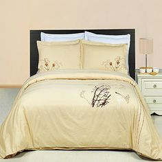 8pcs Queen size Bed in a bag Embroidered Katella Gold duvet set Including Cotton 3pcs Duvet cover set+ 4pcs Queen sheet set+ 1pc Full/Queen Down Alternative comforter
