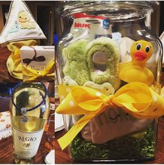 Did it myself! Filled a glass jar with baby stuff such as slippers, onsies, a rubber ducky, baby wipes, baby lotion, baby soap, binkies, etc. then swaddled a bottle of wine for mom after she has the baby.