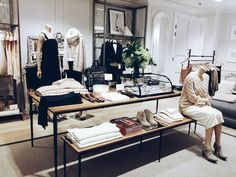 Table base- Visual merchandising masterclass at the new Club Monaco London store, just opened in Sloane Square