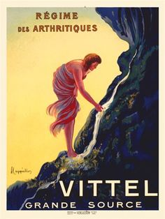 Cappiello Vittel Regime 1911 France  - Beautiful Vintage Poster. This vertical French spring water advertisement features a woman with her hand in a spring waterfall. The girl is wrapped in red and purple fabric against a yellow sky.