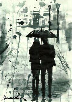 "Saatchi Art Artist Emanuel M Ologeanu; Drawing, ""Rainy Days"" #art"