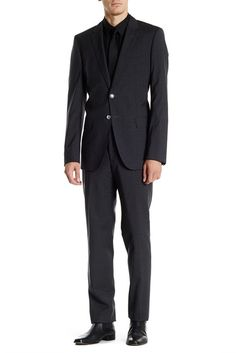 Image of HUGO BOSS Trim Fit Dark Gray Check Two Button Notch Lapel Wool Suit