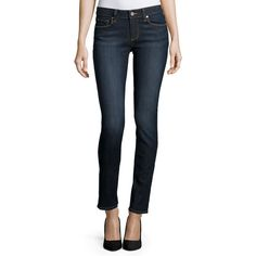 Paige Skyline Skinny Jeans ($119) ❤ liked on Polyvore featuring jeans, leah, paige denim, fitted jeans, faded skinny jeans, super skinny jeans and zipper jeans