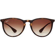 Ray-Ban RB4171 Erika Sunglasses (€85) ❤ liked on Polyvore featuring accessories, eyewear, sunglasses, glasses, sunnies, brown, brown glasses, ray ban glasses, tortoise glasses and ray ban eyewear