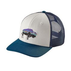 76cfc7e92a8 Patagonia Fitz Roy Bison Trucker Hat - White w Big Sur Blue