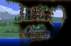 Terraria--house under a cliff Terraria House Design, Terraria House Ideas, Terraria Tips, Minecraft Houses, Minecraft Ideas, Minecraft Treehouses, Animal Crossing Game, Biomes, Construction