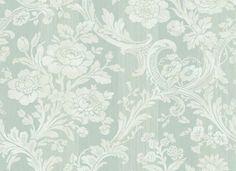 Soft Teal GC20502 Floral Stripe Wallpaper - Traditional Wallpaper