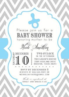 PRINTABLE Gray and Blue Chevron with Pacifier Baby Boy Shower Invitation - colors can be changed