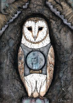 Team Jareth - David Bowie Labyrinth  Barn Owl - mixed media print by CatcolLand
