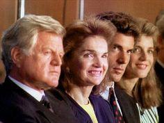 Sen.Edward Kennedy, Jackie, John Jr. and Caroline watch as Conn. Gov. Lowell Weicker receives the JFK Profile in Courage Award in Boston in 1992