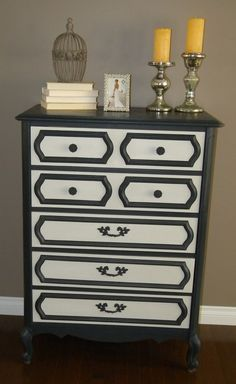Lily wants black and white furniture. This is the perfect inspiration minus the handles for painting her dresser.
