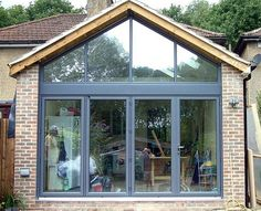 Folding Sliding Door & Gable Window Installation, for Optimum Natural Light House Extension Design, Roof Extension, Extension Designs, Glass Extension, House Design, Extension Ideas, Extension Google, Conservatory Extension, Bungalow Extensions
