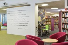 Risca Palace Library Design.  Terry Pratchett Quote.  Would love to put this on the wall in the teen area or in one of the other lounge type spaces!