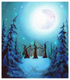 Witch Council Under the Moon - Halloween 2014 Wall Art - Dark Blue Fantasy Painting Halloween Wall Decor, Halloween Painting, Halloween Prints, Halloween Art, Halloween Decorations, Witch Painting, Vintage Halloween, Watercolor Painting, Samhain