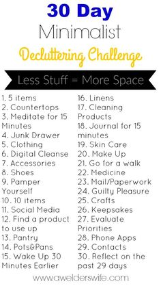Minimalist Declutter Challenge: 30 Days to Declutter Your Home - - Do you feel like clutter is taking over your life? Then you need to try this 30 Day Minimalist Declutter Challenge I created! Minimalism Challenge, Minimalism Living, Motivation, Vie Simple, 30 Day Challenge, Challenge Ideas, Walking Challenge, Monthly Challenge, Challenge Accepted