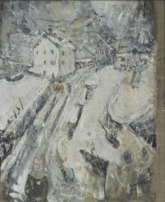 Winter in Bondo by Willy Guggenheim Varlin in Swiss Art on May 2015 at the null null sale lot 14 Zurich, Modern Landscaping, Madame, Art History, Landscape Paintings, Vintage World Maps, Canvas, Winter, Charcoal
