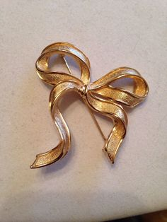 Vintage Christain Dior Gold Bow Brooch  #ChristianDior