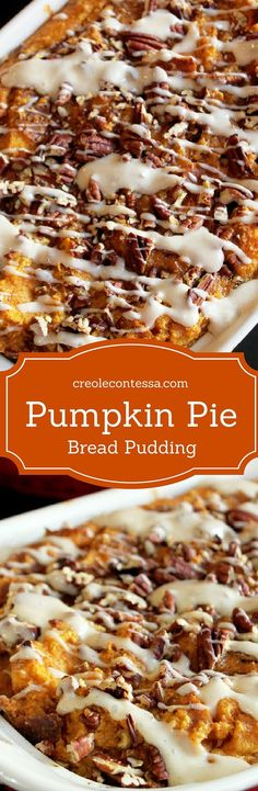 Pumpkin Pie Bread Pudding. Try making with Jimmy John's Day Old bread! About 50 cents a loaf