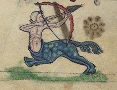 Book of Hours, A Centaur firing an arrow, Walters Manuscript W.102, fol. 82v detail | par Walters Art Museum Illuminated Manuscripts