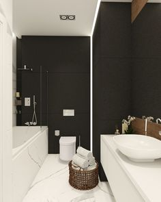 Apartament in modern style on Behance black and white Bathroom Design Small, Modern Bathroom, Home Interior, Bathroom Interior, Bathroom Renos, Washroom, Modern Contemporary Homes, Toilet Design, Upstairs Bathrooms