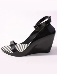 Black Open Toe Ankle Strap Plastic Jelly Shoes