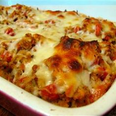 Bruschetta Chicken Bake - This is good on little slices of sourdough bread as an appetizer. :)