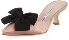 Shop Copena Kitten-Heel Satin Bow Mule from Manolo Blahnik at Neiman Marcus Last Call, where you'll save as much as on designer fashions. Kitten Heel Shoes, Shoes Heels, Fab Shoes, Blue Shoes, Crazy Shoes, Me Too Shoes, Victorian Shoes, Manolo Blahnik Heels, Fashion Heels