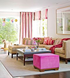 Living Room Color Scheme: Pretty in Pink ★ BHG has some very helpful ideas for the living room (and other parts of the house, as well). Like the sectional, Mom?