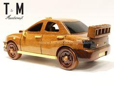 Subaru Car - Handcrafted Mahogany Wooden Model Car