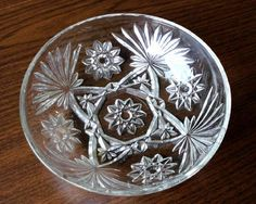 "Early American Prescut Glass Anchor Hocking EAPG Star David Small Bowl 7.25"" #1"