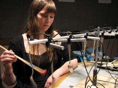 meara oreilly (sound artist, recently working as an educator in Bjork's Exploratorium) with her silver conduction instrument