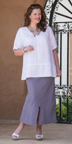 Box 2 white linen round neck top and skirt at Box 2