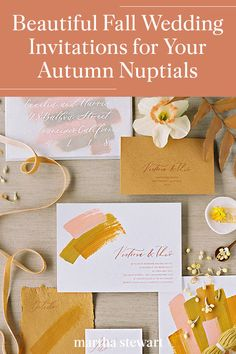 These beautiful fall wedding invitations are a stunning way to incorporate the fall season with charming autumn color themes like gold, brick red, burgundy, dark green, navy, salmon pink, and more. Along with delicate details that you can get inspired to create your own fall-themed wedding invitations. #weddingideas #wedding #marthstewartwedding #weddingplanning #weddingchecklist Fall Wedding Invitations, Wedding Stationary, Plan Your Wedding, Wedding Planning, Marriage Vows, Black Tie Wedding, Red Burgundy, Wedding Paper, Fall Season